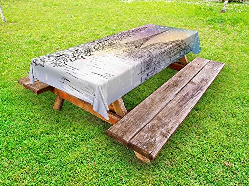 ABAKUHAUS Hiver Nappe Extérieure, Jour d'hiver à Paris, Nappe de Table de Pique-Nique Lavable et Décorative, 145 cm x 305 cm, Rose Blanc