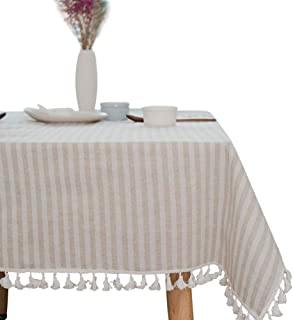 ColorBird Stripe Tassel Tablecloth Cotton Linen Dust-Proof Table Cover for Kitchen Dinning Tabletop Decoration (Rectangle/Oblong, 55 x 86Inch, Beige)