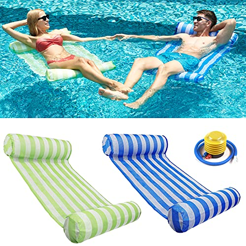 RACPNEL Pool Float Inflatable Water Hammock for Adults 2-Pack , Multi-Purpose Portable Swimming Pool Lounge Chair Comfortable Floating Lounger Pool Raft Water Floaties (Blue&Green)