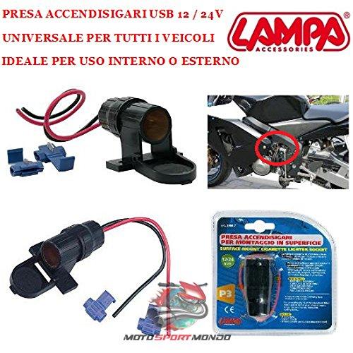 Prise pour USB Scooter Moto 39067 Lampe Universelle pour Tous Les VÉHICULES ET Accessoires Montage SUPERFICIE 12/24V DIM. 140 x 145 x 60 cm.