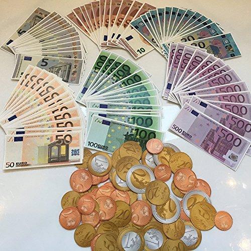 Carpeta Spielgeld Set┃160 Teile: 96 Euro-Scheine und 64 Euro-Münzen┃für Kaufmannsladen, zum Rechnen und Lernen┃Einkaufsladen┃Deko┃Fast 11.000 Euro ★ NEU ★