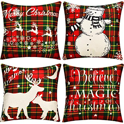 Gejoy 4 Pieces Square Pillow Cover Cushion Cover Decorative Pillow Case for Halloween Christmas Thanksgiving Day Sofa Bedroom Decoration, 18 by 18 inch (Elk and Snowman)