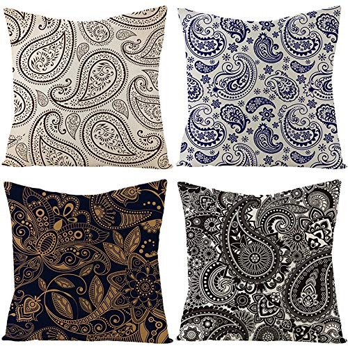 Cushion Pillow Covers Linen Cushion Pillow sofa decorative pillowcasepillowcase Colourful Decorative Pillowcases Personalised for Boudoir Bedroom Living Room car Sofa 40cm X 40cm Set of 4(Style eight)