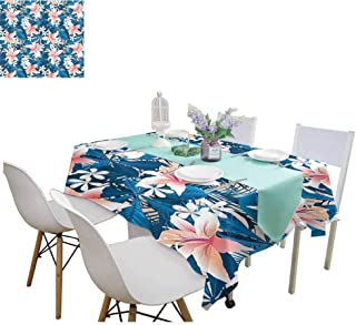Leaf Queen Size Table Cover for Dinner Kitchen Singapore Plumeria and Tropical Hibiscus Hawaiian Flowers Grunge Design Rectangular Tablecloth 60 x 102 Inch