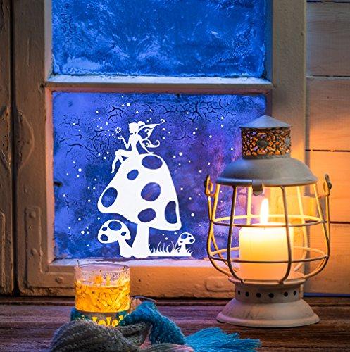 ilka parey wandtattoo-welt Fensterbild Weihnachten selbstklebend Fensterdeko Weihnachtsdeko Sterne Fee auf Fliegenpilz weiß M1231