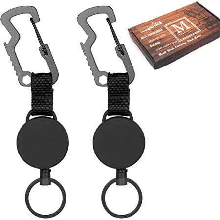 Heavy Duty Multitool Carabiner Key Holder Retract Badge Holder Reel with Steel Cable,Black 3 Piece Retractable Key Chain