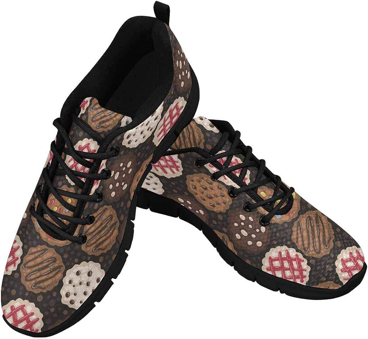 InterestPrint Cookies Pattern Women's Athletic Mesh Breathable Casual Sneakers