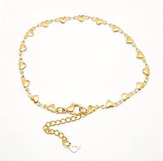 خلخال 304 الفولاذ المقاوم للصدأ للنساء ذهبي لون القلب سلسلة خلخال أساور على الساق اكسسوارات شاطئ القدم مجوهرات 1 قطعة yangain