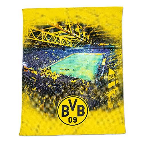Borussia Dortmund Fleecedecke - Stadion - Kuscheldecke 150 x 200 cm, Decke BVB 09 (L)