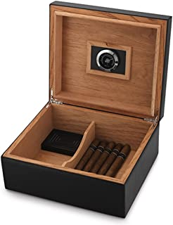MEGACRA C2-Black CB-2 Humidor Leather Surface for 25-50 Cigars Desktop Cedar Lined Box with Hygrometer and Humidifier