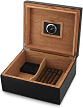 MEGACRA CB-2 Cigar Humidor Leather Surface for 25-50 Cigars Desktop Cedar Lined Box with Hygrometer and Humidifier, Black
