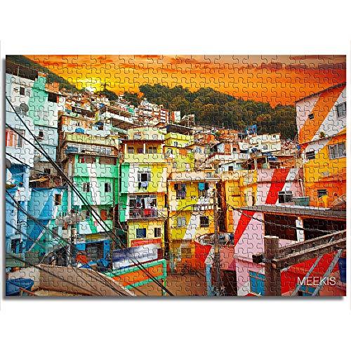 yuhho 1000 gedruckte Puzzleteile in der Innenstadt von Rio de Janeiro und in den Slums von Brasilien Schwierigkeiten und Herausforderungen Kinderspiel 38x52
