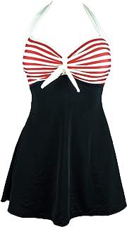 Women's One-piece Swimsuit Necklace Halter Red Stripes Black Bikini bathing suit L