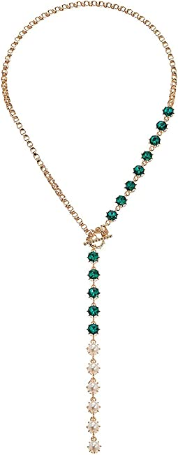 Simulated Crystal Asymmetrical Beaded Y Style Chain Necklace