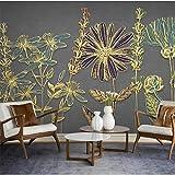 Maßgeschneiderte großes wandbild modernen minimalistischen goldenen linien pflanze blumen licht luxus tv sofa hintergrundbild 140 cm (b) x 70,5 cm (h)