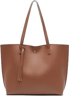 حقيبة كتف نسائية من الجلد الصناعي الناعم من دريوبيا، سعة كبيرة على شكل حقيبة يد شرابة