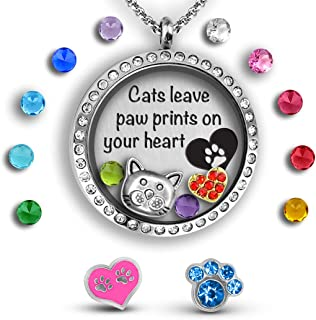 Cat Gifts For Cat Lovers Gifts For Women | Cat Lady Christmas Gifts For Women | Cat Stuff Floating Charm Locket Animal Lover Gifts for Crazy Cat Lady Gifts | Cat Accessories for Women Necklace Locket