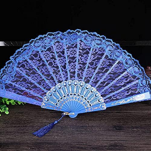 wangYUEQ Señoras Plegable Encaje Mano Ventilador decoración de Boda decoración de la decoración de decoración Suministros de Baile-Negro (Color : Blau)