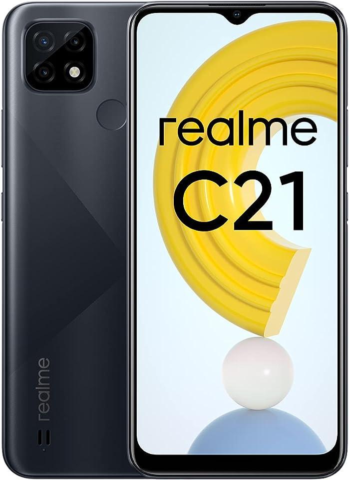 "realme C21 Mobile Phone, Sim Free Unlocked Smartphone with 5000mAh Massive Battery, 6.5"" Mini-drop Fullscreen, 13MP AI Triple Camera, Helio G35 Powerful Processor, Dual Sim, NFC, 4+64GB, Cross Black"