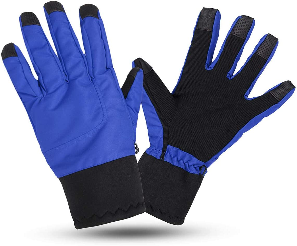 Lupovin-Keep Warm Motorcycle Touch Screen Gloves L Size Winter Warm Windproof Raincoat Anti-Slip Thermic Nylon Non-Slip (Color : Blue)