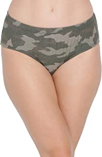 Clovia Women's Cotton Mid Waist Camouflage Print Hipster Panty with Inner Elastic