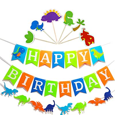 Dinosaur Happy Birthday Banner(Assembled) with ...