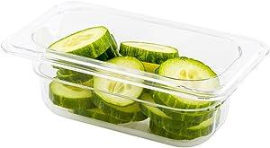 Met Lux 2.5 Inch Deep Food Pans, 1 1/9 Size Commercial Food Storage Container - Freezer-Safe, Break-Resistant, Clear Plastic Cold Pans, Dishwasher-Safe, For Kitchens, Restaurants, Or Cafeterias