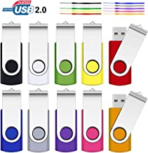 4GB USB Flash Drive, SRVR 10 Pack USB 2.0 Flash Drive Metal Swivel USB Memory Stick with LED Indicator, Fold Storage Thumb Drives Jump Drive with Lanyards (10 Mixed Color)