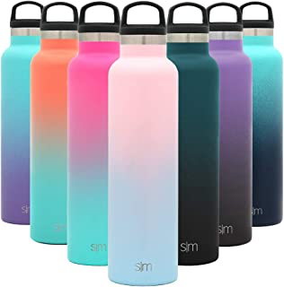 Simple Modern 24oz Ascent Water Bottle - Hydro Vacuum Insulated Tumbler Flask w/Handle Lid - Double Wall Stainless Steel Reusable - Leakproof Ombre: Sweet Taffy