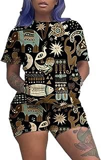 Women 2 Piece Outfit Summer African Print T-Shirts Shorts Set Jumpsuit