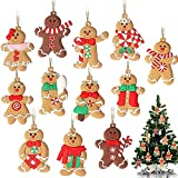 GuassLee 12 Pack Gingerbread Man Ornaments for Christmas Tree Decorations, 3 inch Tall Gingerman Hanging Charms Christmas Tree Ornament Holiday Decorations