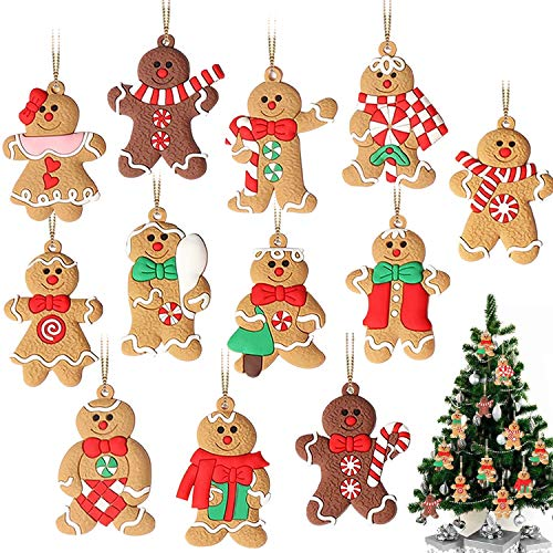 GuassLee 12 Pack Gingerbread Man Ornaments for Christmas Tree Decorations - 3 inch Tall Gingerman Hanging Charms Christmas Tree Ornament Holiday Decorations