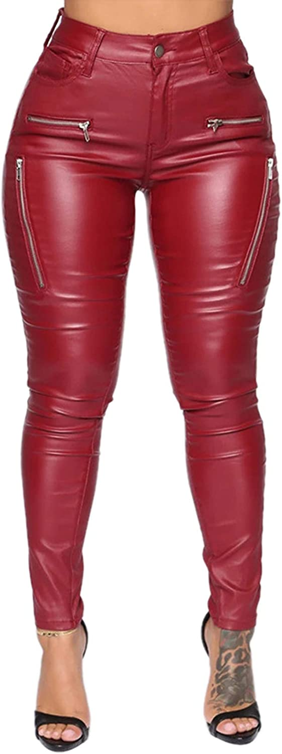 cool nik Women's Faux Leather Cause Pants Sexy Stretchy PU Leggings Tights