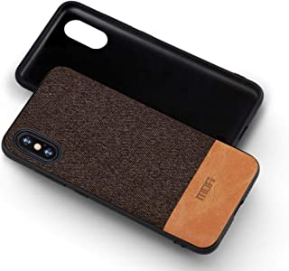 MOFI iphone XS Max Case, Brown Leather and Fabric, Flexible Frame