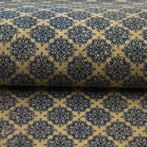 Tela de corcho de Portugal, color azul marroquí, 100% vegano, resistente, flexible, fácil de coser, sin crueldad, suave al tacto, confección de costura, bolsos