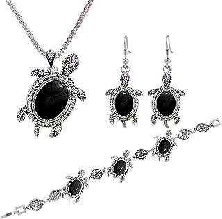 Zhouba - Set di collana da donna, 3 pezzi, stile retrò, con tartaruga turchese
