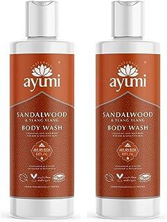 Ayumi Sandalwood & Ylang Ylang Body Wash. Vegan, Cruelty-Free, Dermatologically-Tested, 2 x 250ml