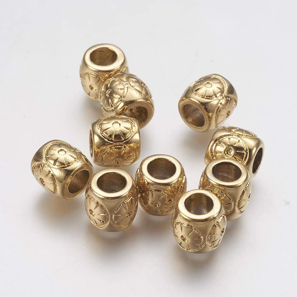 Hole 5mm UNICRAFTALE 2pcs Golden Flower Beads 304 Stainless Steel European Beads Large Hole Potted Plant Beads for Jewelry Findings Bracelet Necklace Making 8x11mm