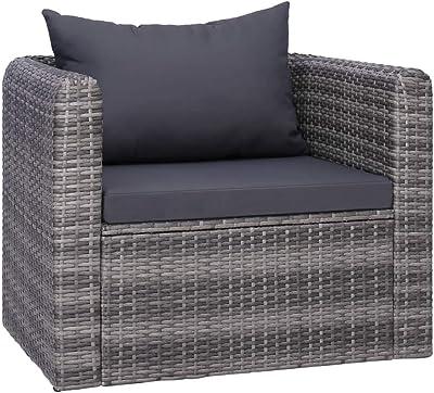 vidaXL Garden Chair with Cushion and Pillow Poly Rattan Grey