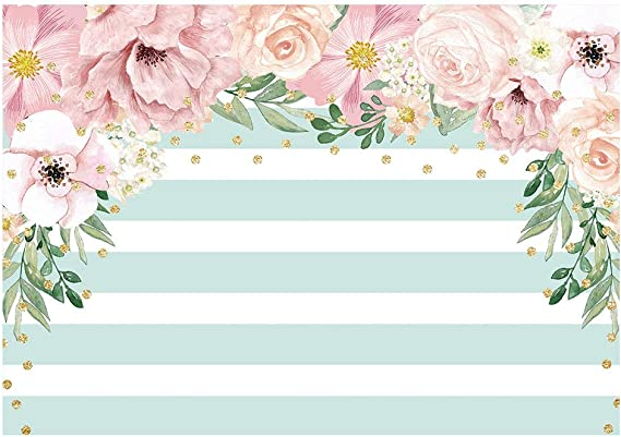 Mint 10x15 FT Backdrop Photographers,Floral Simplistic Pattern with Mixed Leaves Botanical Beauty Nature Illustration Background for Baby Shower Bridal Wedding Studio Photography Pictures