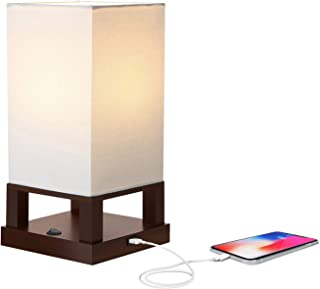 Brightech Maxwell - Bedroom Nightstand Lamp with USB Ports – Modern Asian Table Lamp w/Wood Frame - Soft Light Perfect for Bedside - with LED bulb - Havanah Brown