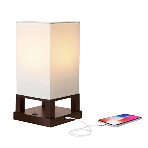 Brightech Maxwell - Bedroom Nightstand Lamp with USB Ports – Modern Asian Table Lamp w/