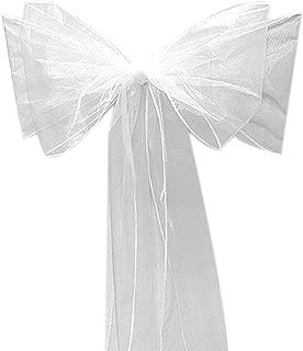 10 Organza Stuhl Band Schleife für Cover Bankett-Hochzeit Party Dekoration Weiß