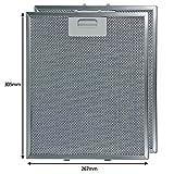 SPARES2GO Filtro de malla de grasa de aluminio para ventilación de campana de cocina Hotpoint-Ariston (paquete de 2, 305 x 267 mm)