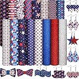 16 Stück Amerikanische Flagge Kunstleder Blätter, Glitzer