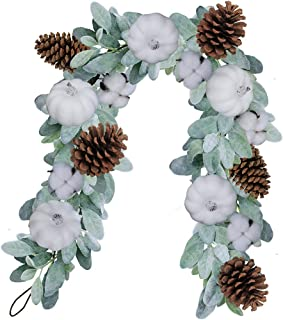 Artificial Lamb's Ear Garland with White Pumpkins Pinecones Cotton Bolls Fall Foliage Garland Vine Floral Table Runner for Wedding Arch Swag Backdrop Thanksgiving Décor 6 Feet Long