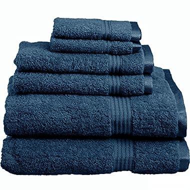 Blue Nile Mills 6-Piece Towel Set, 100% Premium Long-Staple Combed Cotton, Sapphire