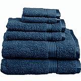 Superior 100% Long Staple Combed Cotton Towel Set, 6 Piece, Sapphire