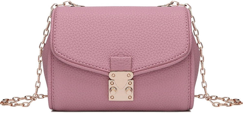 Sturdy New Spring and Summer Models Leather Ladies Shoulder Handbag Wild Leather Messenger Handbag Mini Chain Handbag Versatile Practical Lightweight Large Capacity (color   Pink)