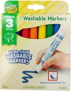 Washable Marker Crayola Ultra-Clean Junior Washable Markers 8 Pack, (16047)